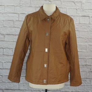 Dialogue Brown Leather Quilted Jacket Large